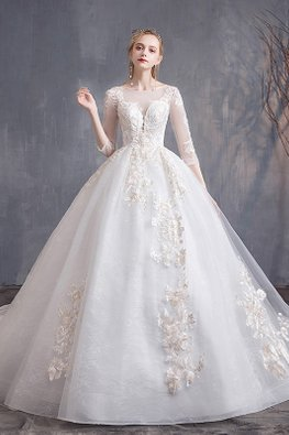 Light Champagne Sweetheart Plunge Illusion 3/4 Sleeves Lace Wedding Gown