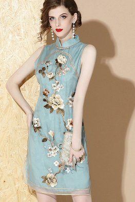 Blue / Green Mulberry Silk Embroidery Cheongsam