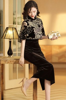 1-pc Cape Sleeves Tea-Length Classy Cheongsam