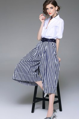 2-pc White Shirt Wide Legged Stripe Pants