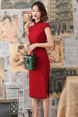 Assorted Colours Mandarin Collar Lace Trimmings Knee Length Cheongsam