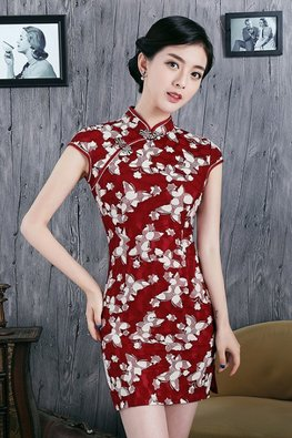Blue / Red Lace Mini Cheongsam