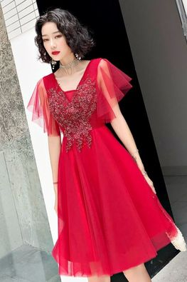Assorted Colours V-Neckline Butterfly Sleeves Applique Gown