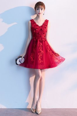 Wine Red / Red 3D Floral A-Line Gown