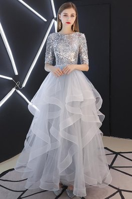 Silver Round Neck Elbow Sleeves Sequins Tulle Gown