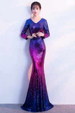 Blue Red V-Neck Ombre Sequins Mermaid Dress