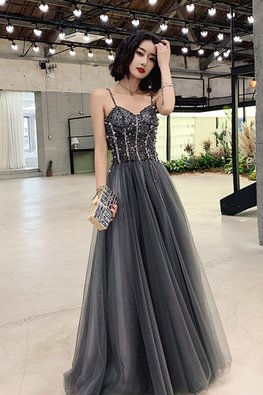 Grey Sweetheart Strap Jewel Gown