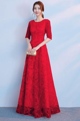 Assorted Colours Round Neck Illusion Sleeves Ribbon Lace Gown