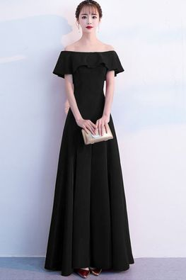 Assorted Colours Off-Shoulder Sleeves Lace-up Gown