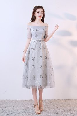 Silver Grey Off-Shoulder Elbow Sleeves Embroidery Tea-Length Gown