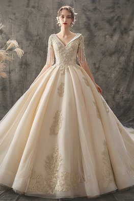 V Inverted Neckline Tassels Sleeves Palace Wedding Gown