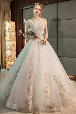 Sweetheart Fan Bodice Romantic Lace Wedding Gown