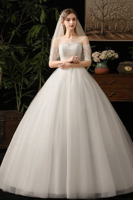 Champagne / White Illusion Neckline Scallop Lace Sweetheart Wedding Gown