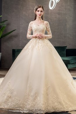 Champagne Illusion Floral Neckline Long Sleeves Wedding Gown with Chapel Train