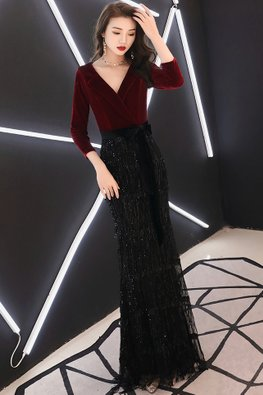 Assorted Colours Lapel Collar Waist Bow Sequins Tassels Gown