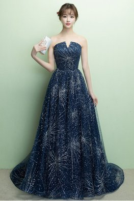 Blue V-Sweetheart Stardust Sequins Gown with Court Train