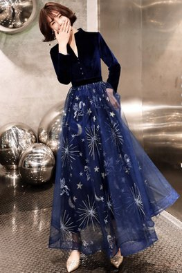 Assorted Colours V-Neck Long Sleeves Contrast Texture Starburst Gown