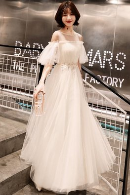 Cream / Grey Illusion Neckline Open Layered Sleeves Gown