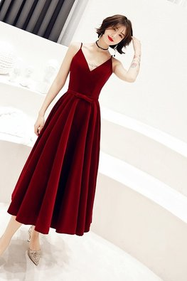 Red V-Neck Lace-Up Tea Length Gown