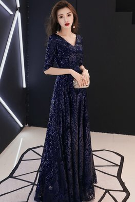 Assorted Colours V-Neck Elbow Sleeves Full Sequins Lace-up Gown