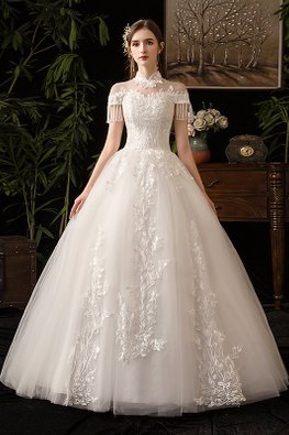 Mandarin Collar Illusion Neckline Tassel Sleeves Wedding Gown