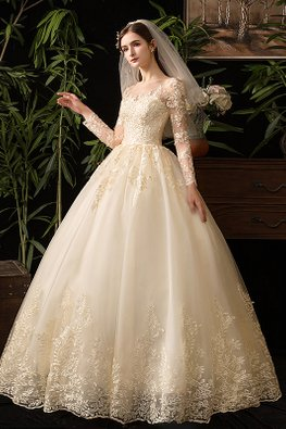Champagne Illusion Neckline Long Lace Sleeves Wedding Gown