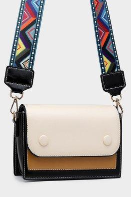 Green / Almond Colour Block Tribal Print Strap Bag