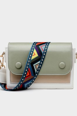 Green / Almond Colour Block Tribal Print Strap Bag