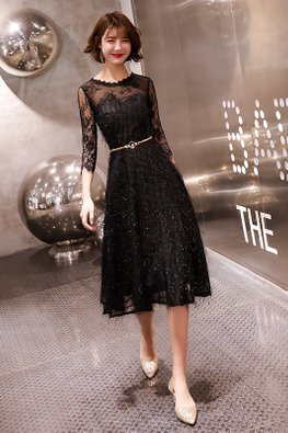 Black Round Illusion Neckline Patterned Lace Sleeves Glitter Gown