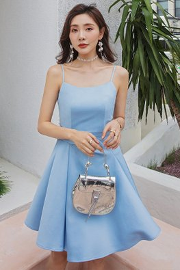 Blue Side Fold-Over Pleated Strap Dress