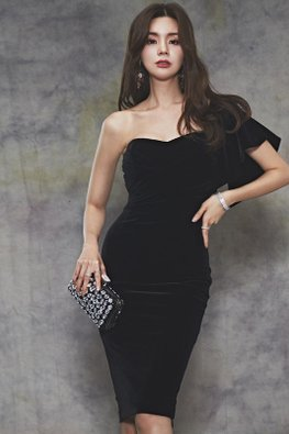 Black Sweetheart One-Shoulder Sheath Dress
