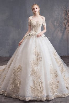 Off-Shoulder Sweetheart Beaded Wedding Gown