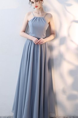 Grey Blue / Pink Halter Strap Neckline Lace-up Gown