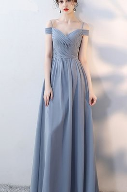 Grey Blue / Pink Open Shoulder Strap Lace-up Gown