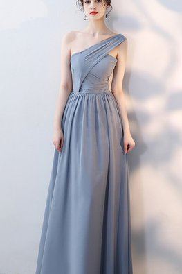 Grey Blue / Pink One-Shoulder Cross-Over Lace-up Gown