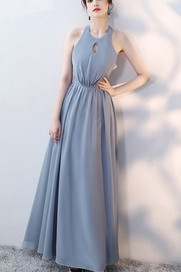 Grey Blue / Pink Halter Neckline Keyhole Lace-up Gown