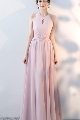 Grey Blue / Pink Halter Neckline Keyhole Lace-up Gown