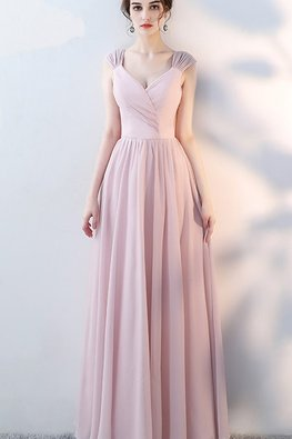 Grey Blue / Pink V-Cut Cap Sleeves Lace-up Gown