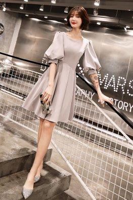 Grey Round Neck Puff Sleeves Pleated Peekaboo Back Dress