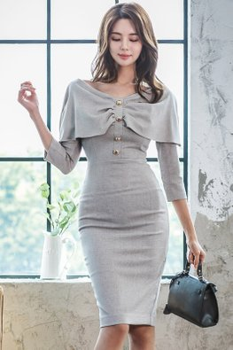 Grey Wide Neckline Button 3/4 Sleeves Sheath Dress