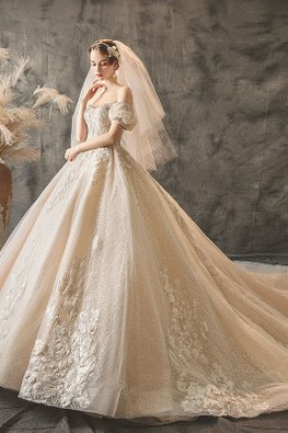Champagne Off-Shoulder Sweetheart Victorian Wedding Gown