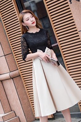Assorted Colours Lace Round Neck Ribbon Pleated Dress