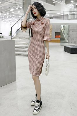 Pink / Yellow Brown Trimmings Trumpet Sleeves Cheongsam