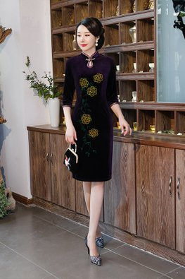 Purple Mandarin Collar Keyhole Floral Cheongsam