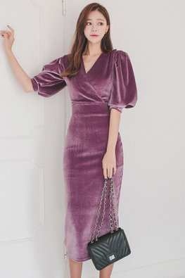 Purple V-Neck Puff Sleeves Velvet Dress