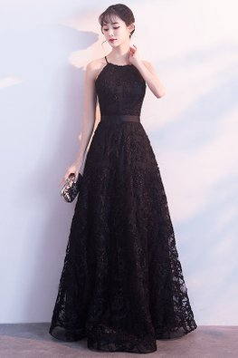 Black Halter Strap Neckline Ribbon Lace Gown