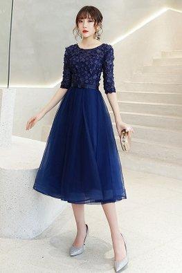 Grey / Navy Blue 3D Floral Petals Tulle Gown