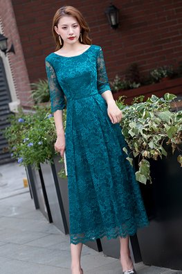 Assorted Colours Round Neck Lace Illusion Sleeves Dress