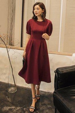 Wine Red Round Neck Short Sleeves Dress