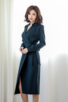 Wine Red / Navy Blue Collar V-Neck Wrap Ribbon Dress